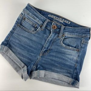 AMERICAN EAGLE Size US 2 AU 8 Stretch Jean Embroidered Pocket Shorts